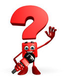 Question Mark character with mike Royalty Free Stock Photography