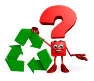Question Mark character with recycle icon Stock Photo