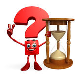 Question Mark character with sand clock Stock Image
