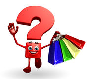 Question Mark character with shopping bag Royalty Free Stock Images