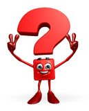 Question Mark character with victory sign Stock Images