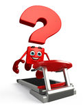 Question Mark character with walking machine Stock Image
