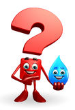 Question Mark character with water drope Royalty Free Stock Images
