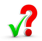Question mark and check mark Royalty Free Stock Images