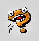 Question Mark. Childish confused question mark with big eyes and funny face expressions vector illustration