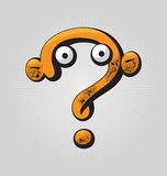 Question Mark. Childish confused question mark with big eyes and funny face expressions stock illustration