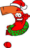 Question mark with Christmas wreath and Santa hat Stock Images