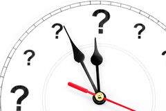 Question mark clock. Concept of time Royalty Free Stock Photography