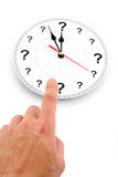 Question mark clock. Concept of time Royalty Free Stock Photo