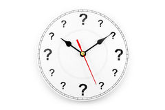 Question mark clock. Concept of time Royalty Free Stock Photos