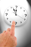 Question mark clock. Concept of time Stock Images