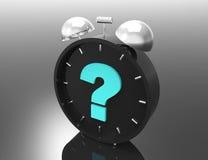 Question mark and clock. 3d concept design Stock Photos