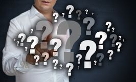 Question mark cloud touchscreen is operated by man concept royalty free stock image