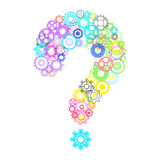 Question mark with cog wheels. Abstract question mark with transparent cog wheels Royalty Free Stock Photography