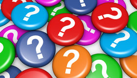 Question Mark On Colorful Badges Photo libre de droits