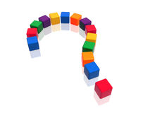Question-mark in colour. 3d colour boxes arranged like question-mark, variegated Stock Photography