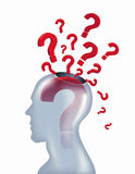 Question mark Concept. Red Color 3d Question marks coming out from Human Head Stock Image