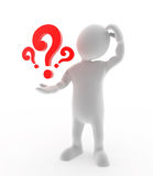 Question Mark. A confused man holding question marks Royalty Free Stock Images