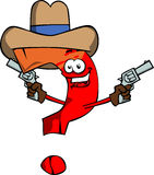 Question mark cowboy with gun Stock Photo