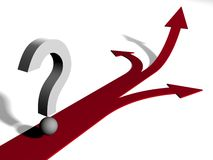 A question mark at the Crossroads. 3d question mark at the Crossroads royalty free illustration