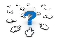 Question mark and cursors Stock Images