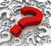 Question mark  3d illustration. Big red question mark and white question marks 3d illustration Royalty Free Stock Images