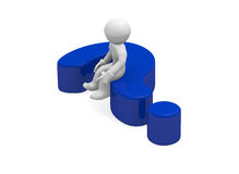 Question mark. 3d man sitting on a blue question mark Royalty Free Stock Photos