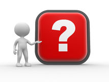 Question mark. 3d people - man, person and big button with question mark Royalty Free Stock Photography