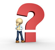 Question mark. 3d people - men, person and big question mark Royalty Free Stock Photography