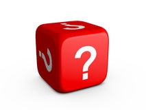 Question Mark Dice. Red dice with question mark on isolated white background Royalty Free Stock Photo