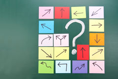 Question mark with different direction. Question mark and colorful paper with different direction Royalty Free Stock Images
