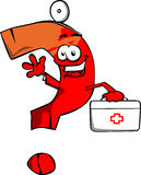 Question mark doctor with first aid kit Stock Photos
