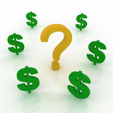 Question mark and dollar signs Royalty Free Stock Photos