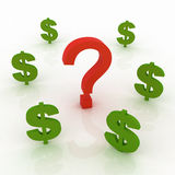 Question mark and dollar signs Royalty Free Stock Photography