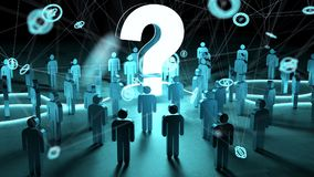 Question mark illuminating a group of people 3D rendering. Question mark and dots connections illuminating a group of people 3D rendering Stock Photo