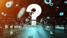 Question mark illuminating a group of people 3D rendering. Question mark and dots connections illuminating a group of people 3D rendering Royalty Free Stock Photos