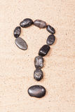 Question mark drawn with pebbles on the sand. Of a beach Royalty Free Stock Image
