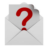 Question mark in envelope. Red question mark in envelope Royalty Free Stock Photography