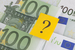 Question mark on European Union Currency Royalty Free Stock Images