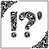 Question mark, exclamation mark and apostrophe. Decorative Font made of swirls and floral elements. Vintage style Stock Image