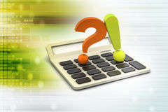 Question mark with exclamation mark with calculator Stock Photos