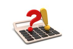 Question mark with exclamation mark with calculator Stock Photography