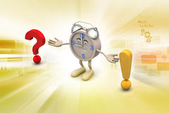 Question mark with exclamation mark with clock Royalty Free Stock Photography