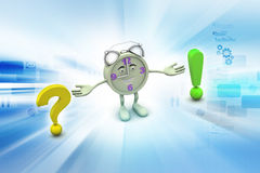Question mark with exclamation mark with clock Stock Image