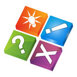 Question mark, exclamation mark, cross, and Light bulb with inside icons Stock Images