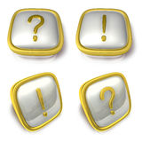 Question mark and Exclamation mark 3d metalic square Symbol butt Stock Photos