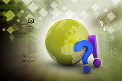 Question mark with exclamation mark with earth Royalty Free Stock Images