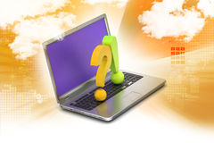 Question mark with exclamation mark with laptop Stock Images