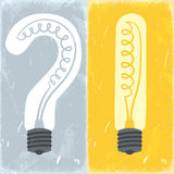 Question mark and exclamation mark lightbulbs Stock Photos