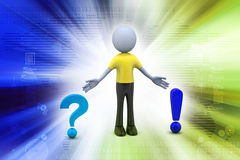Question mark with exclamation mark with man Stock Photos